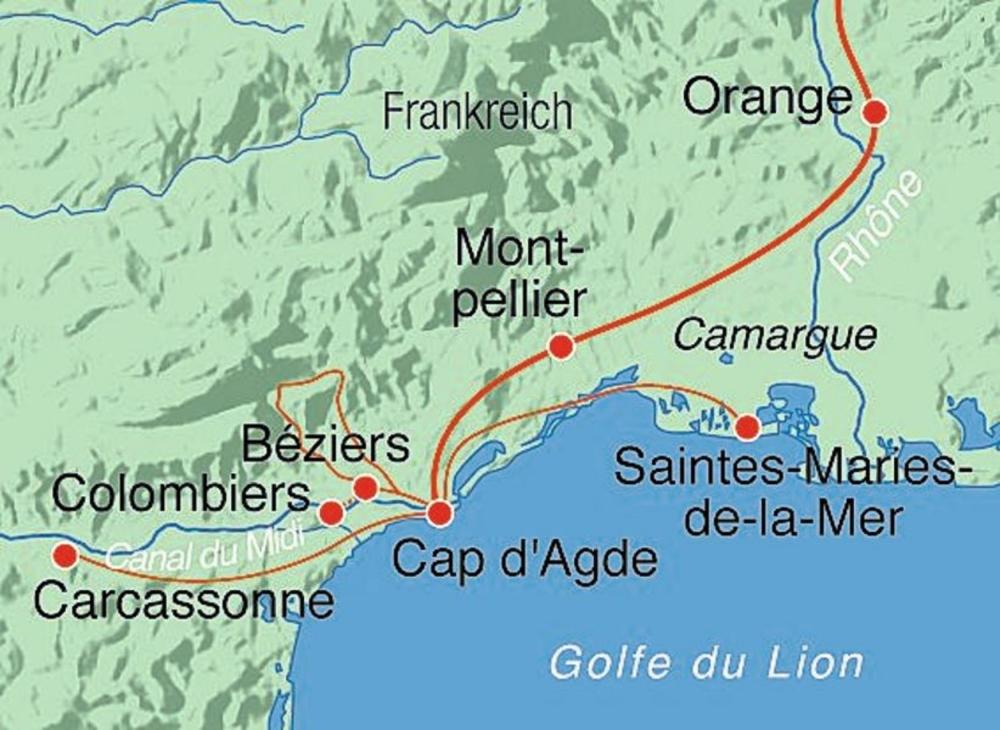 Camargue Karte.Carcassonne Camargue Canal Du Midi Rundreise Marti Reisen
