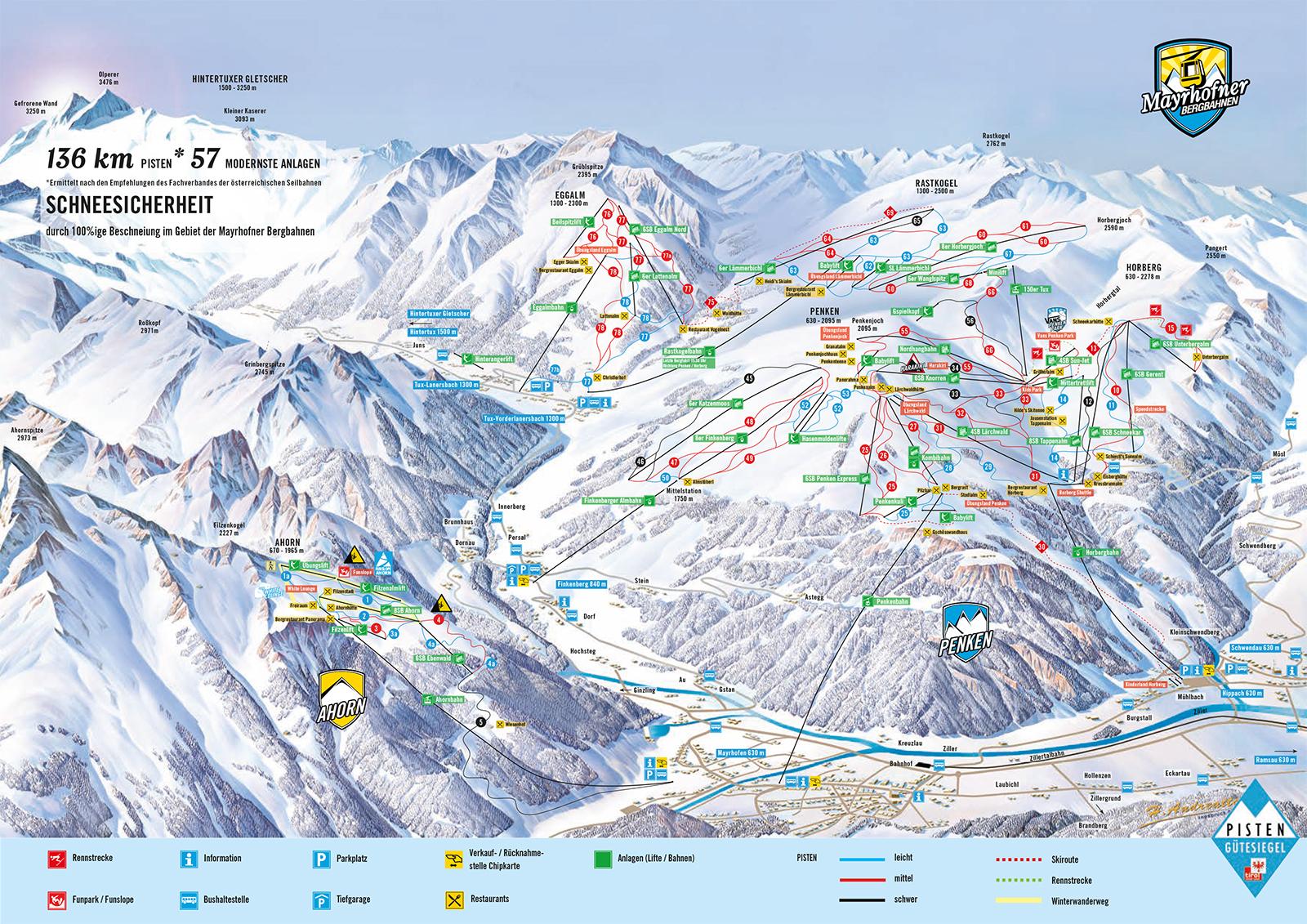 Karte mit Pisten des Skigebietes Mayrhofen