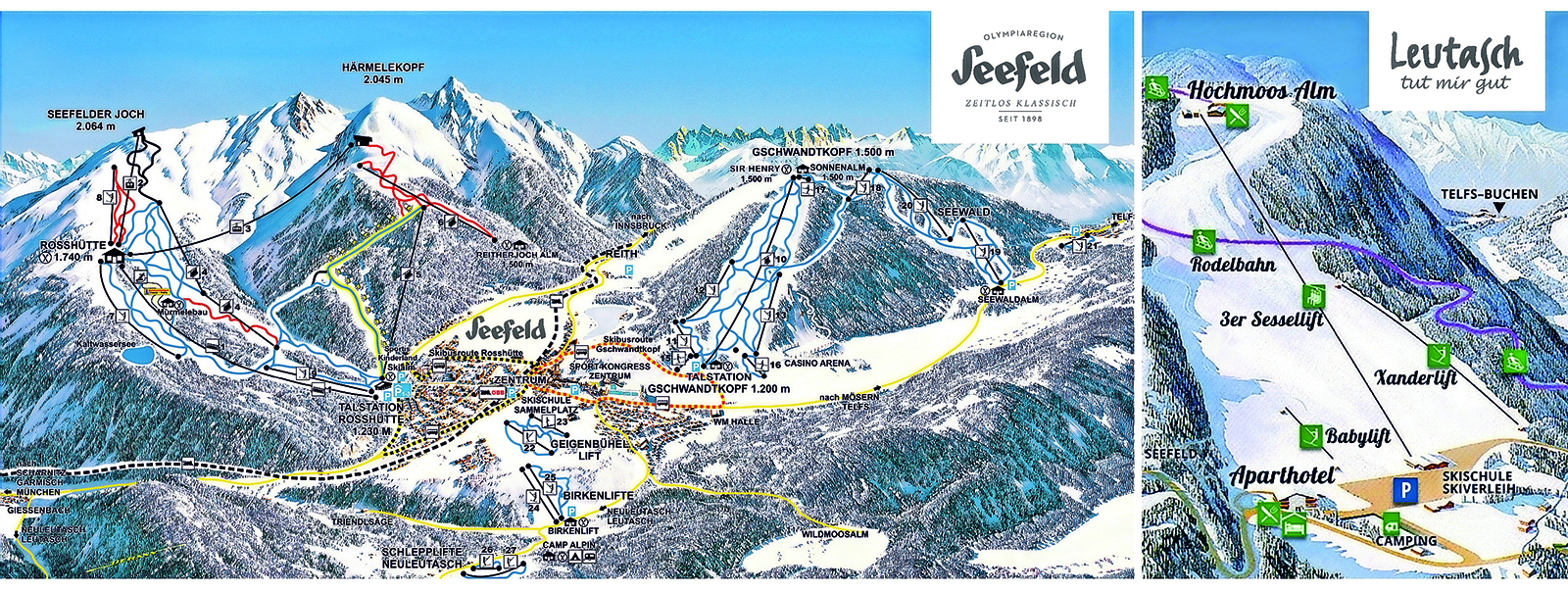 Winterplan mit Skipisten in Seefeld