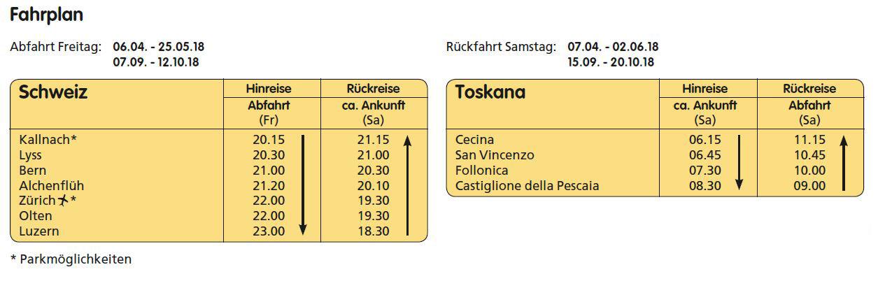 Nur-Fahrplan-Toskana