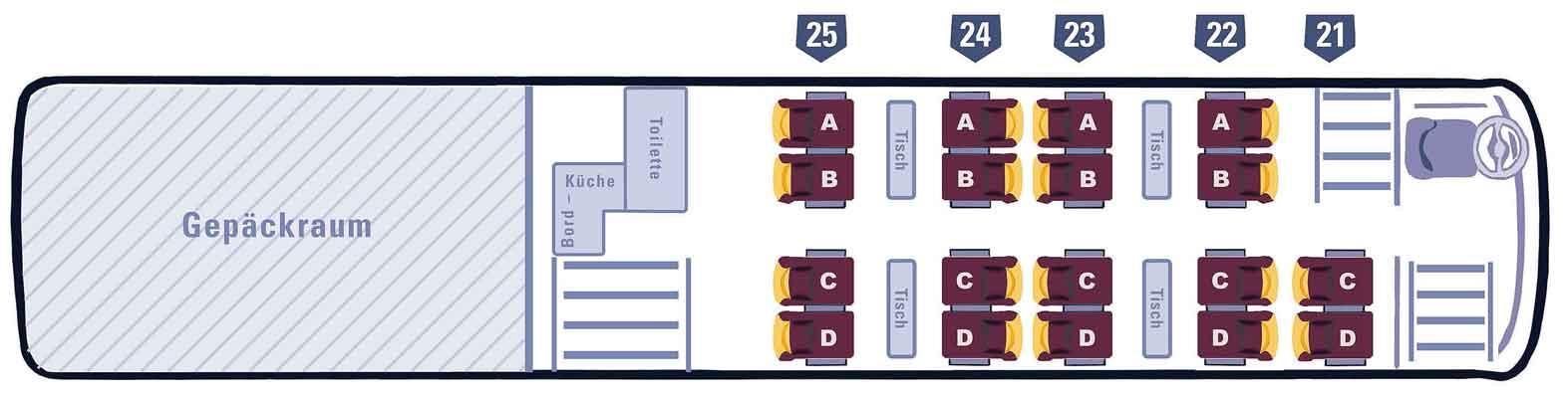 Marti Car Sitzplatzspiegel Doppelstockbus unten 4 Tische