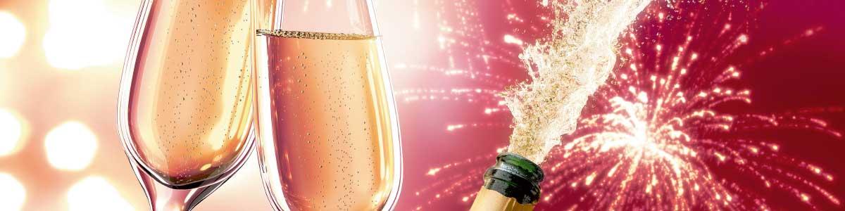 Champagnergläser für Festtagsreisen