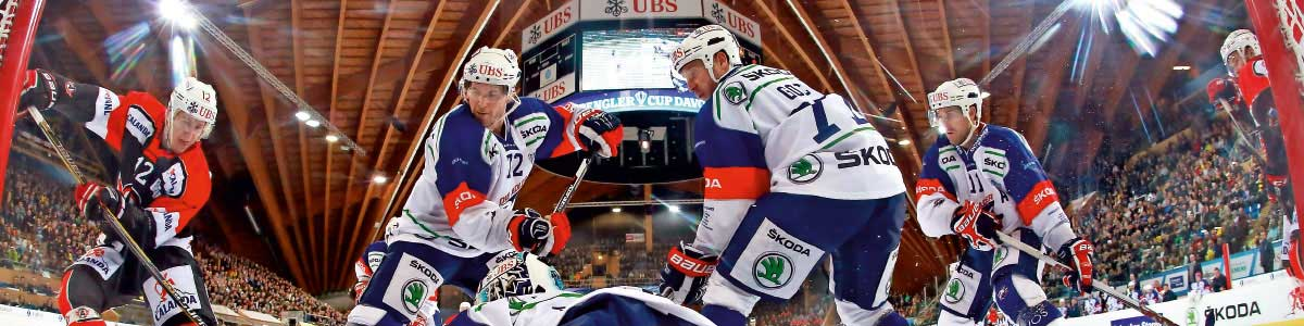 Hockeyspieler am Spengler Cup in Davos Carfahrt