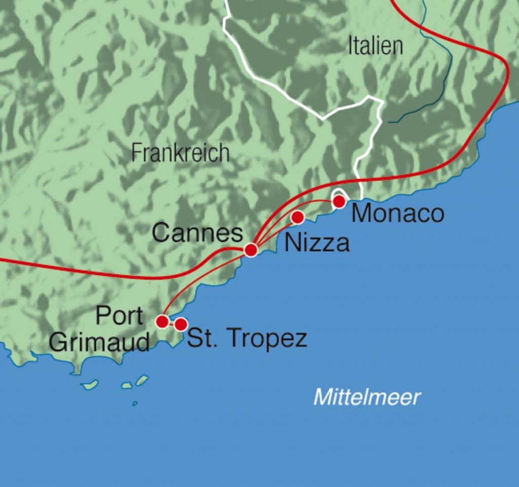 Monaco Italien Karte.Cote D Azur