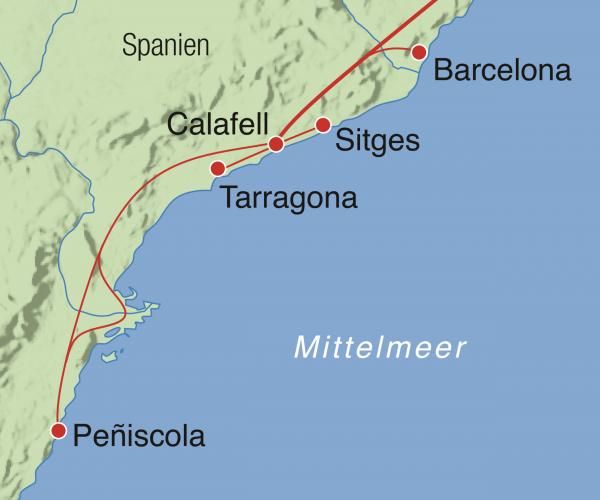 Spanien Karte Küsten.Costa Dorada Spanien Rundreise Barcelona Tarragona